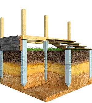 Фундамент террасы с крыльцом на ж/б сваях
