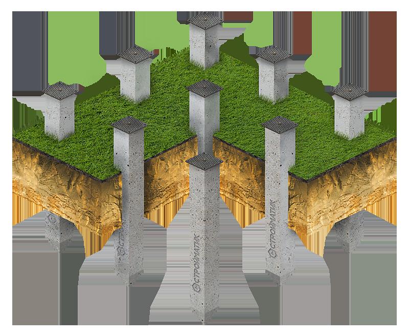 Фундамент на забивных ж/б сваях