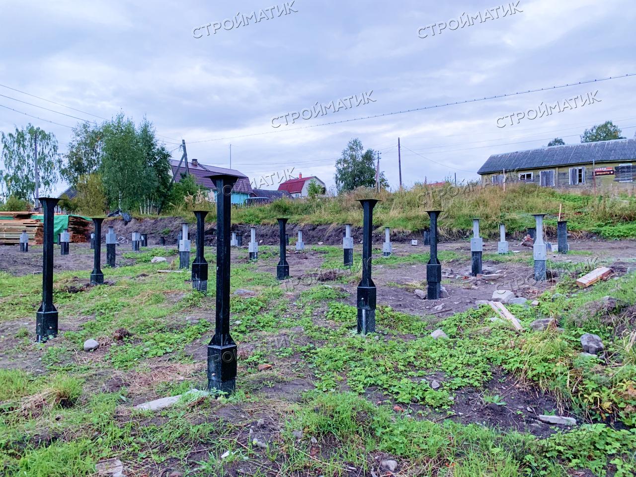 Фундамент на забивных железобетнных сваяхпод каркасный дом вКарелии