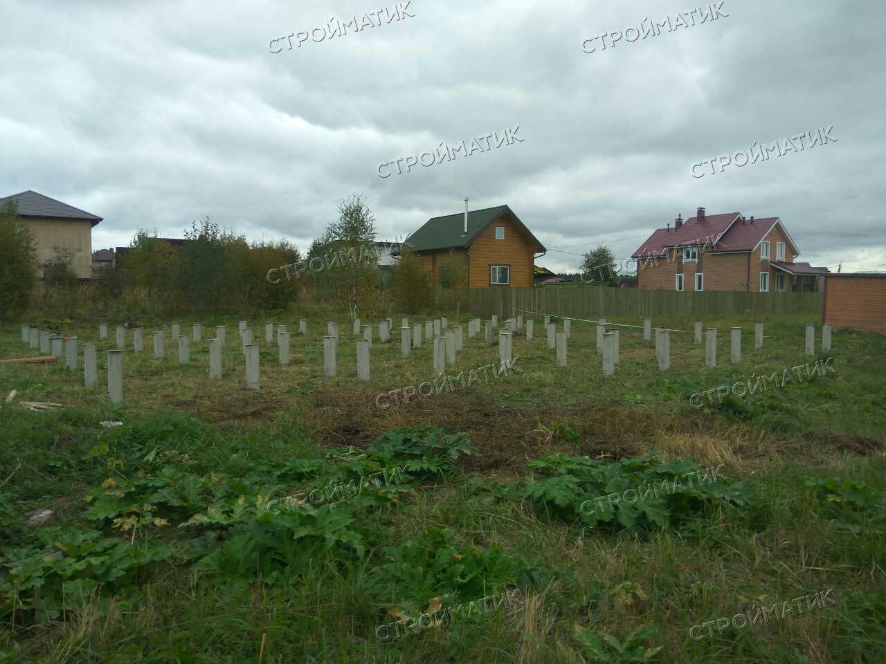 Фундамент на забивных ж/б сваях для дома из газобетона в Москве д. Шарапово от компании Стройматик