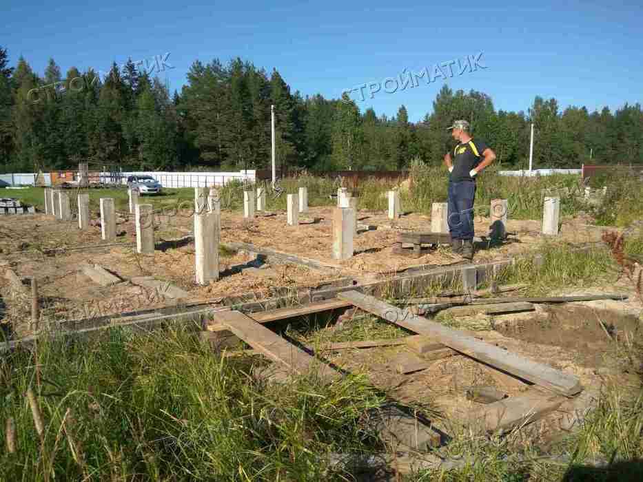 Фундамент на забивных ж/б сваях для дома поверх старого фундамента в Клинском районе МО от компании Стройматик