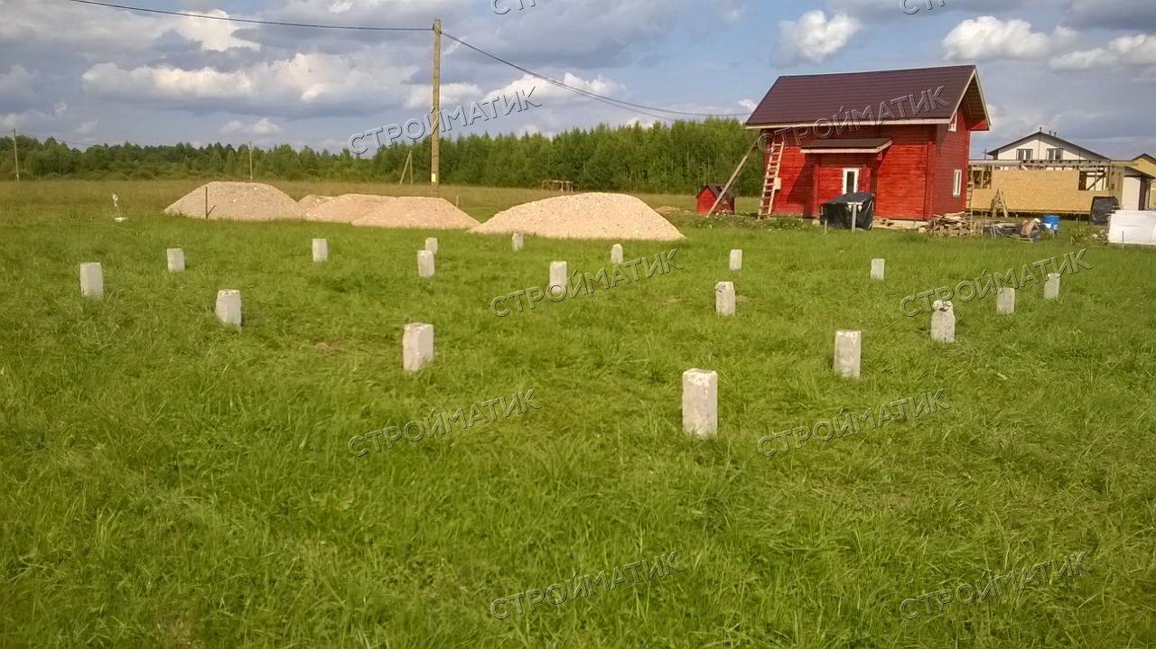 Фундамент на забивных ж/б сваях для каркасного дома в Ярославской области от компании Стройматик