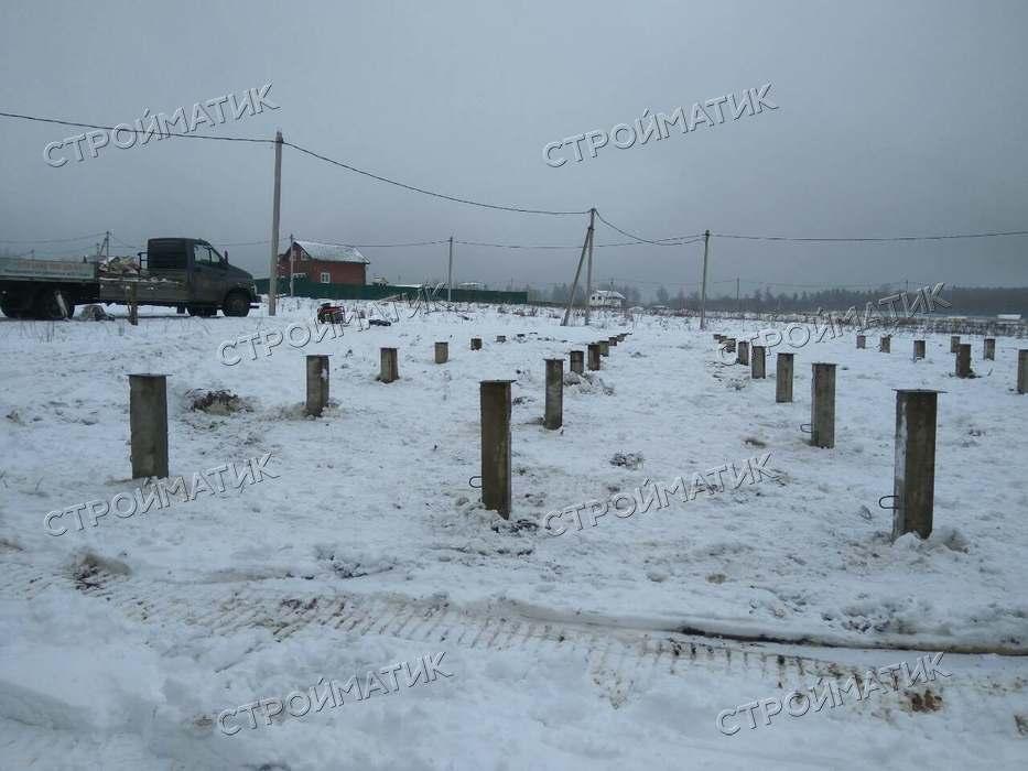 Фундамент на забивных ж/б сваях для каркасного дома и бани в Клинском районе Московской области от компании Стройматик