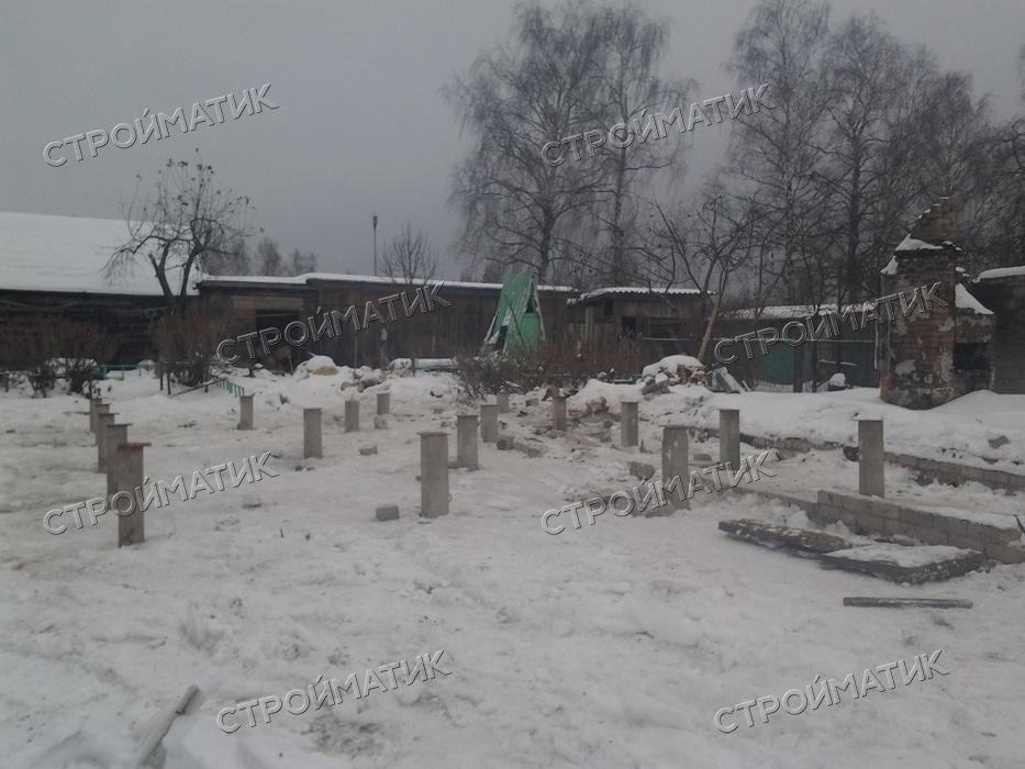 Фундамент на забивных ж/б сваях для бани из бруса в деревне Исанино Ярославской области от компании Стройматик