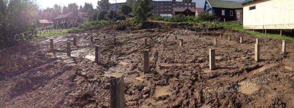 Фундамент на ж/б сваях для дома из SIP-панелей селе Выльгорт, Сыктывкар, Республика Коми от компании Стройматик