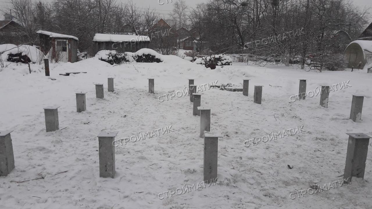 Фундамент на забивных ж/б сваях для бани из бруса в СНТ Калининец 4, Екатеринбург от компании Стройматик