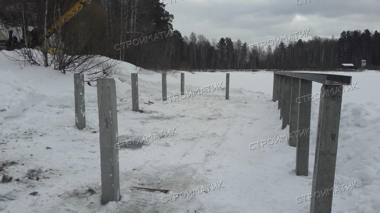 Фундамент на забивных ж/б сваях для пирса в КП Чистые Ручьи, Екатеринбург от компании Стройматик