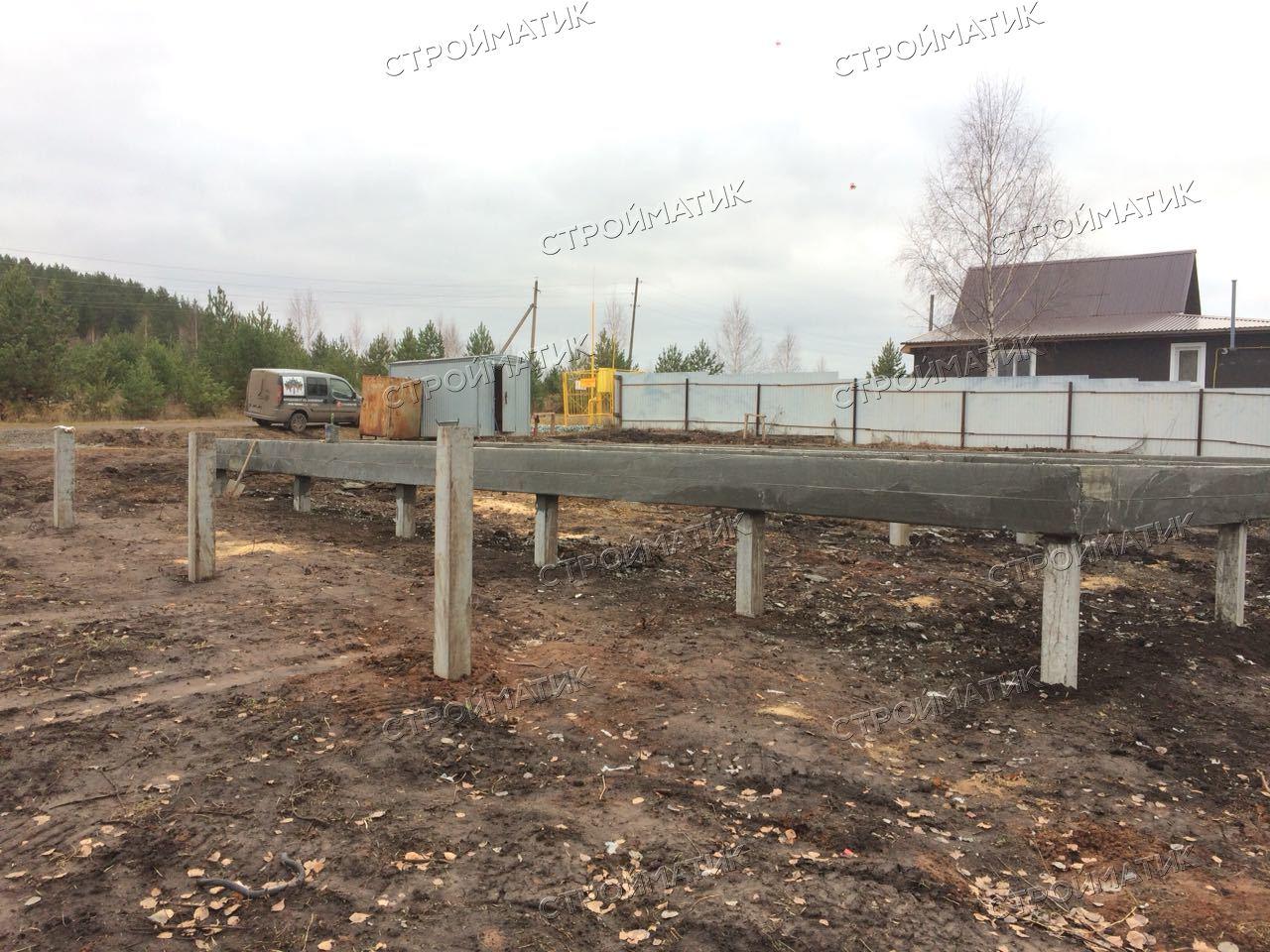 Фундамент на забивных ж/б сваях с бетонным ростверком для двухэтажного каркасного дома в деревне Макарово, Удмуртия от компании Стройматик