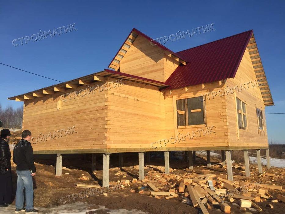 Фундамент на забивных ж/б сваях для дома из профилированного бруса в деревне Карабиха Ярославской области от компании Стройматик