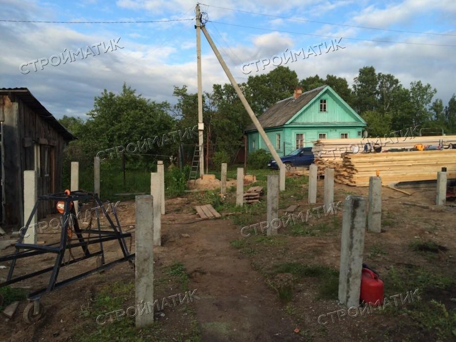 Фундамент на забивных ж/б сваях для каркасного дома в поселке Шексна Вологодской области от компании Стройматик
