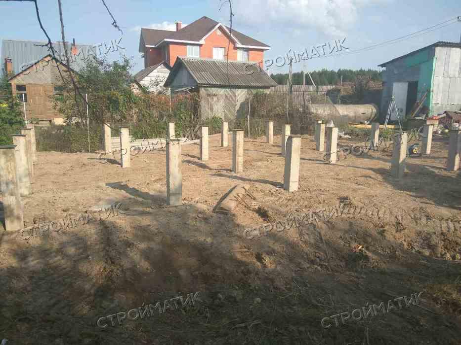 Фундамент на забивных ж/б сваях для дома из бруса в Раменской районе Московской области от компании Стройматик