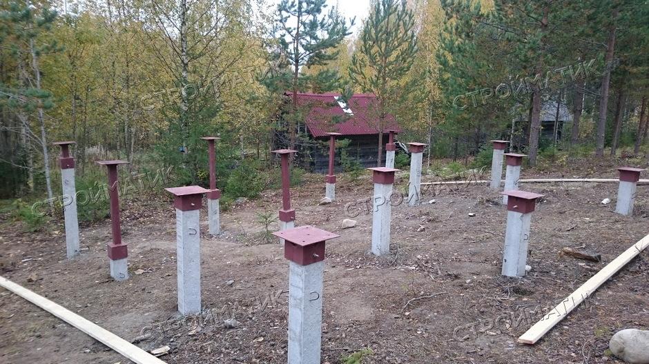 Фундамент на ж/б сваях для дома в Лаптево от компании Стройматик