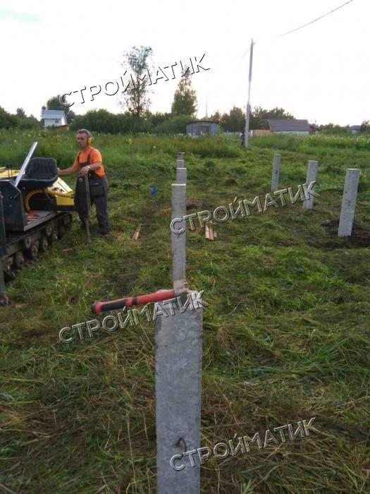 Фундамент на забивных ж/б сваях для дома из бруса в ДНП Кипреево Московской области от компании Стройматик