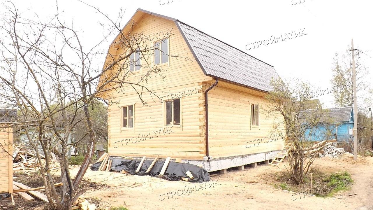 Фундамент на забивных ж/б сваях с бетонным ростверком  для дома из бруса в Твери от компании Стройматик