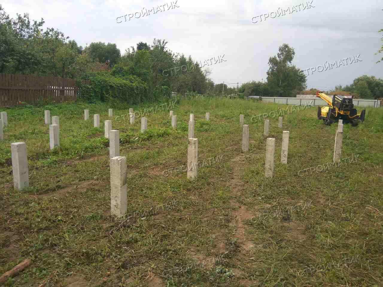 Фундамент на забивных ж/б сваях для дома из бруса в МО, Сергиево-Посадском районе, Шеметово от компании Стройматик