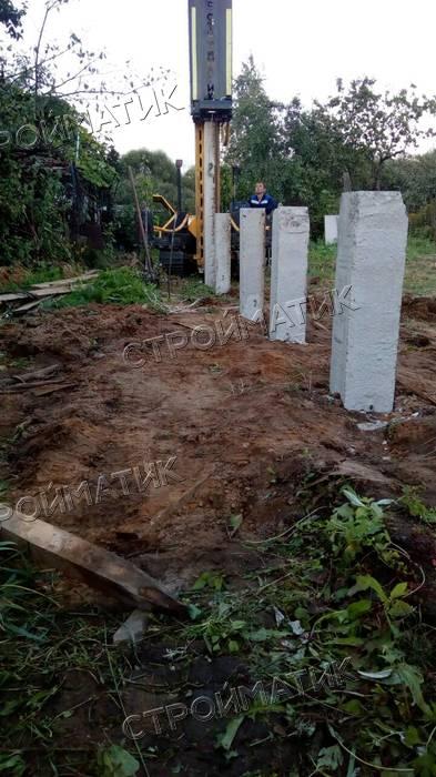 Фундамент на забивных ж/б сваях для дома из бруса в Ногинске Московской области от компании Стройматик