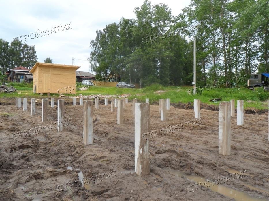 Фундамент на забивных ж/б сваях для гаража в деревне Ивановское Ярославской области от компании Стройматик
