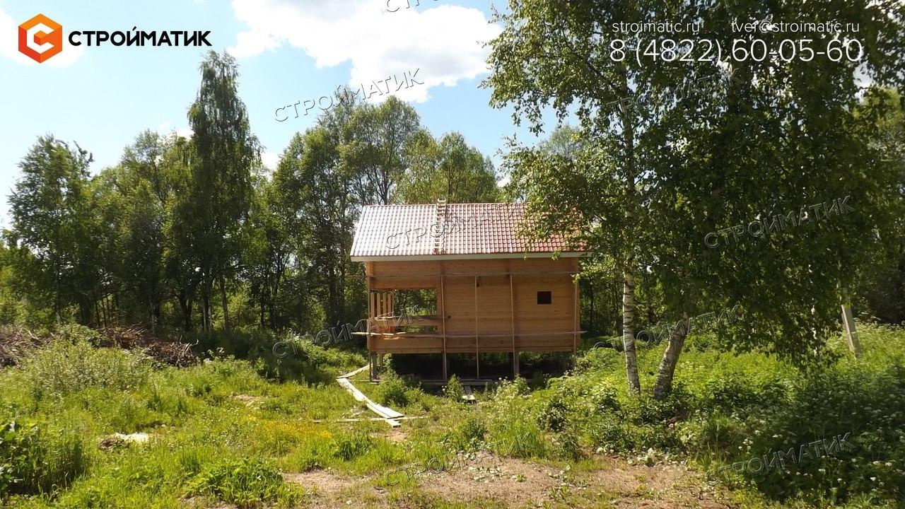 фундамент на забивных ж/б сваях для бани из профилированного бруса в Тверской области от компании Стройматик