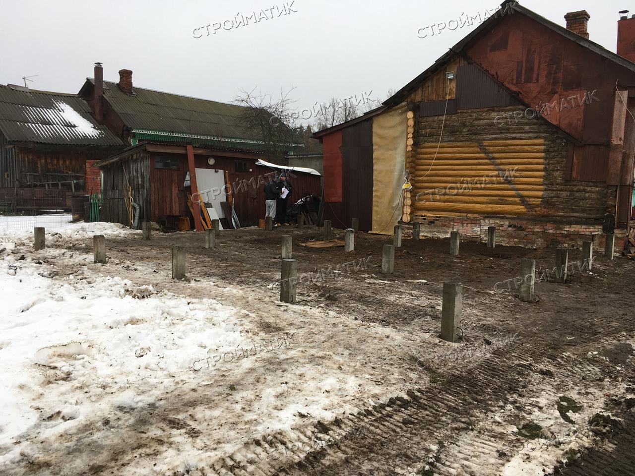Фундамент на забивных ж/б сваях для дома в селе Чернцы Ивановской области от компании Стройматик