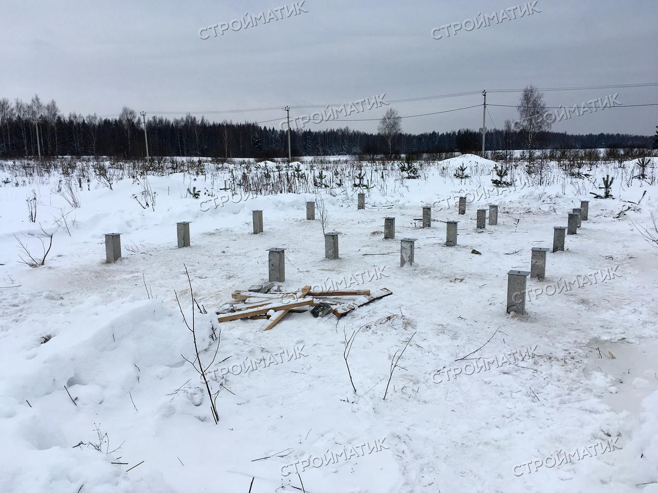 Фундамент на забивных ж/б сваях для каркасного дома в деревне Клинцево Ивановской области от компании Стройматик