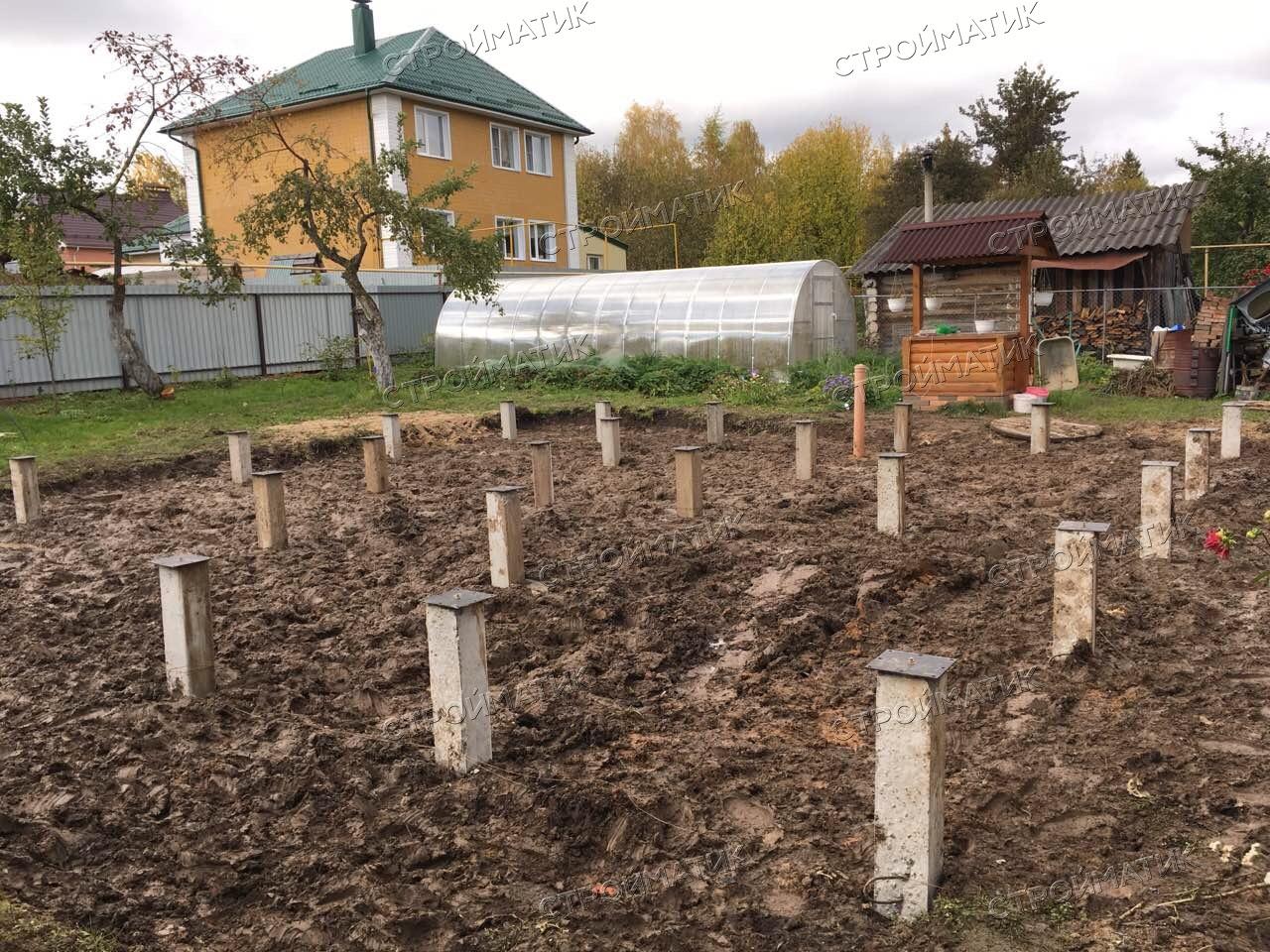 Фундамент на забивных ж/б сваях для дома из бруса в городе Иваново от компании Стройматик