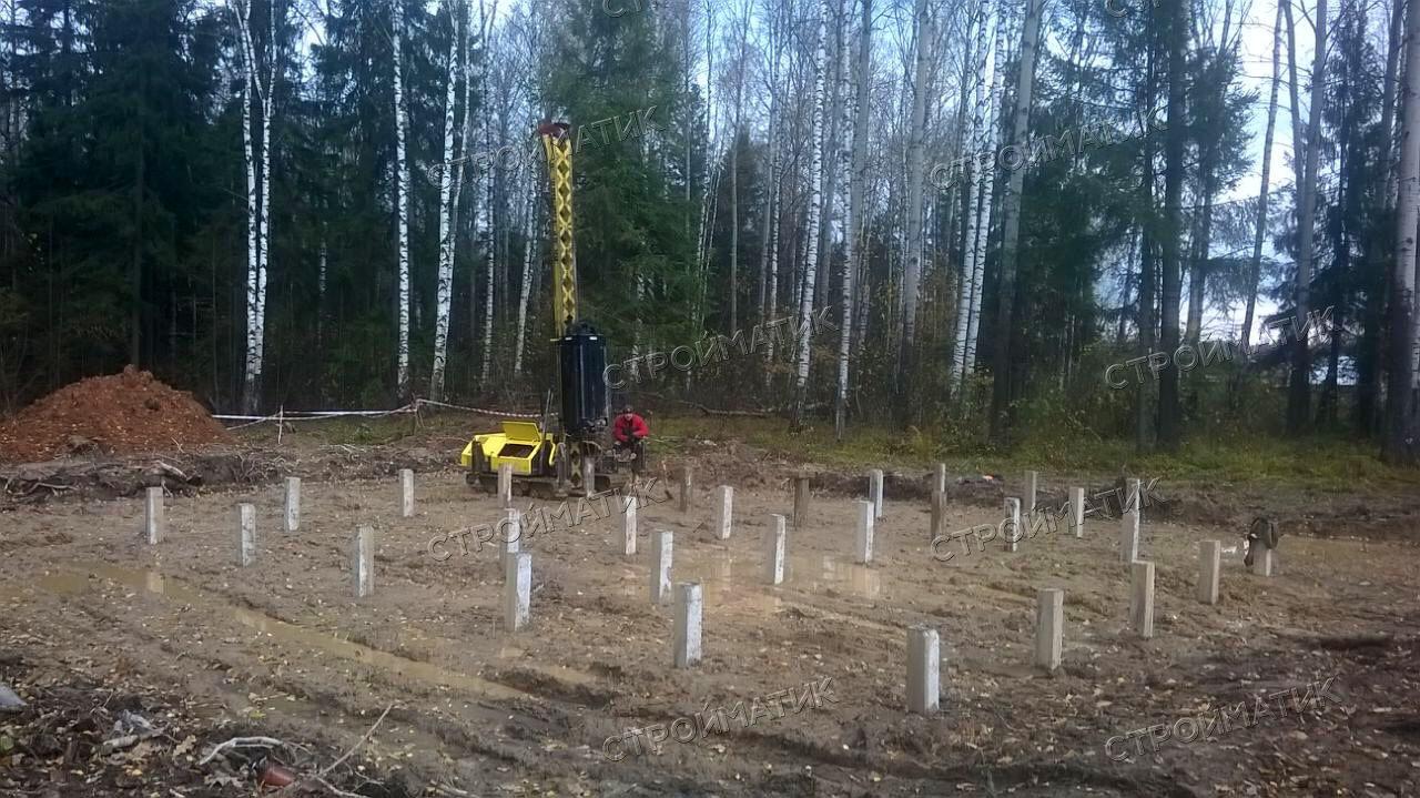 Фундамент на забивных ж/б сваях для дома из бруса в Судогодском районе Владимирской области от компании Стройматик
