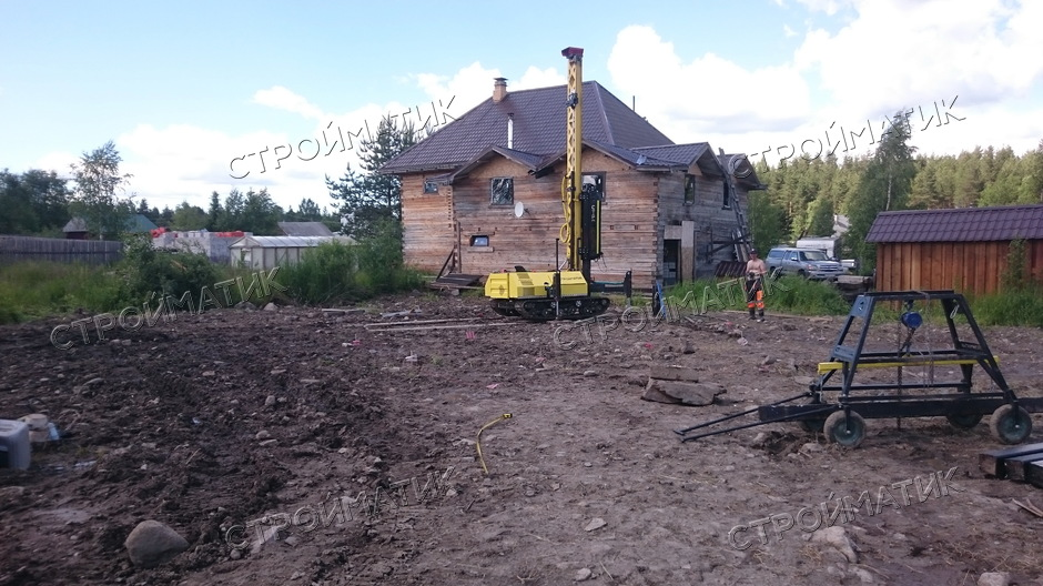 Фундамент на забивных ж/б сваях для дома из бруса в деревне Бесовец Прионежского района республики Карелия от компании Стройматик
