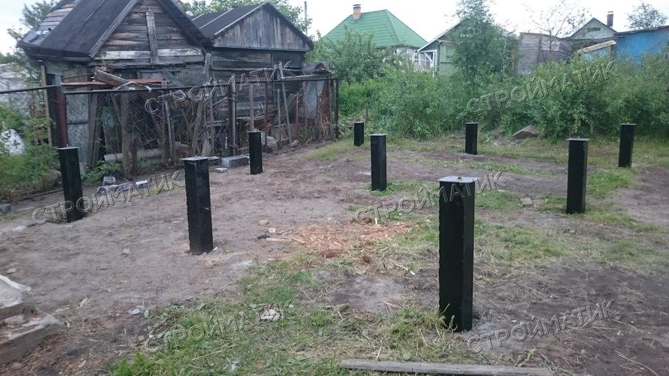 Фундамент на забивных ж/б сваях для бани из бруса в посёлке Лучевое 2 Прионежского района республики Карелия от компании Стройматик