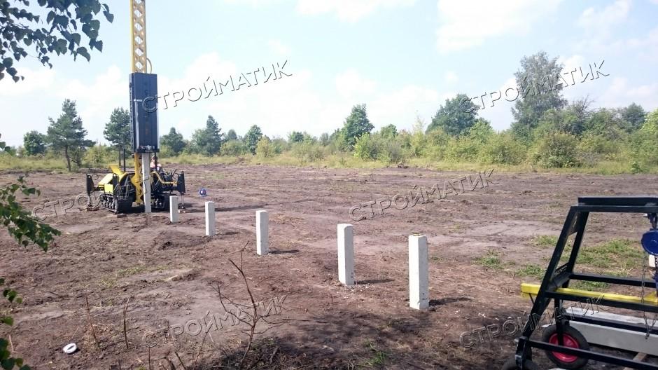 Фундамент для дома на забивных ж/б сваях в селе Горицы Липецкой области от компании Стройматик
