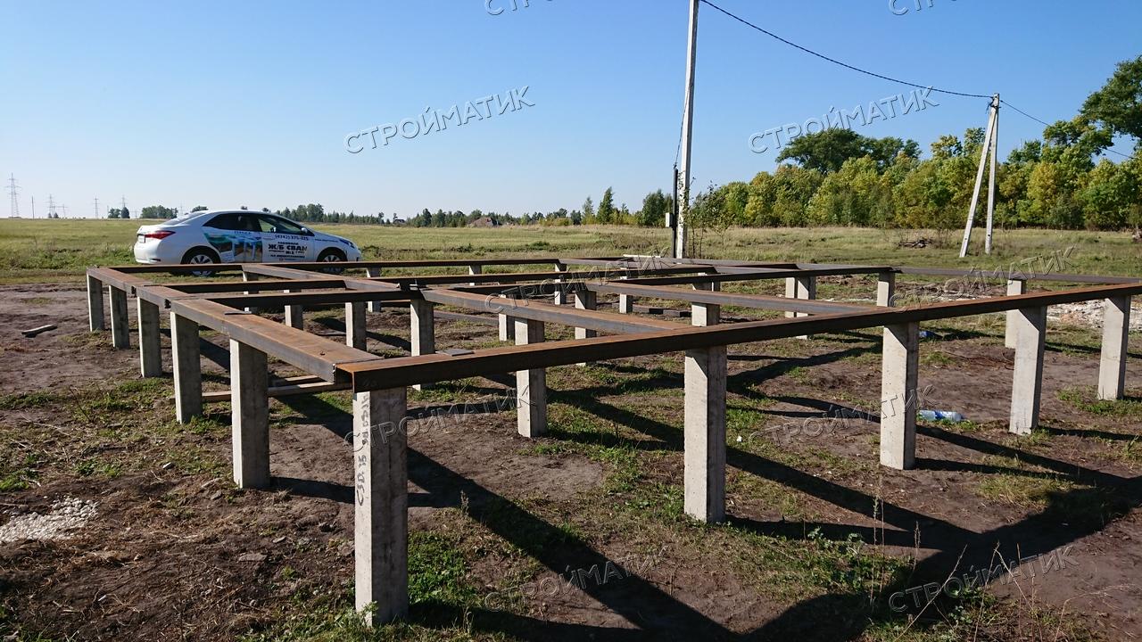 Фундамент на забивных ж/б сваях для дома из бревна в поселке Казинка Липецкий район от компании Стройматик