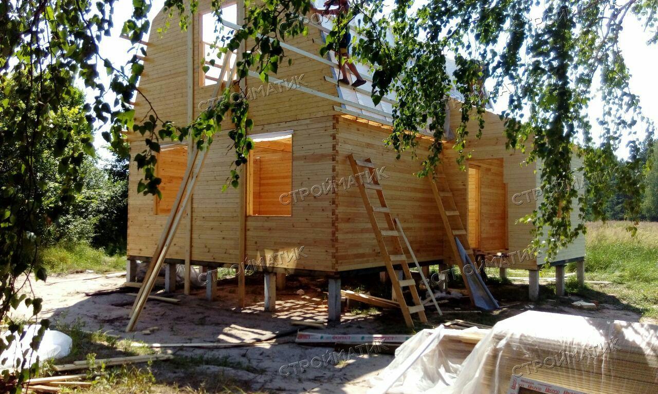 Фундамент на забивных ж/б сваях для дома из бруса в селе Кривец Липецкой области от компании Стройматик