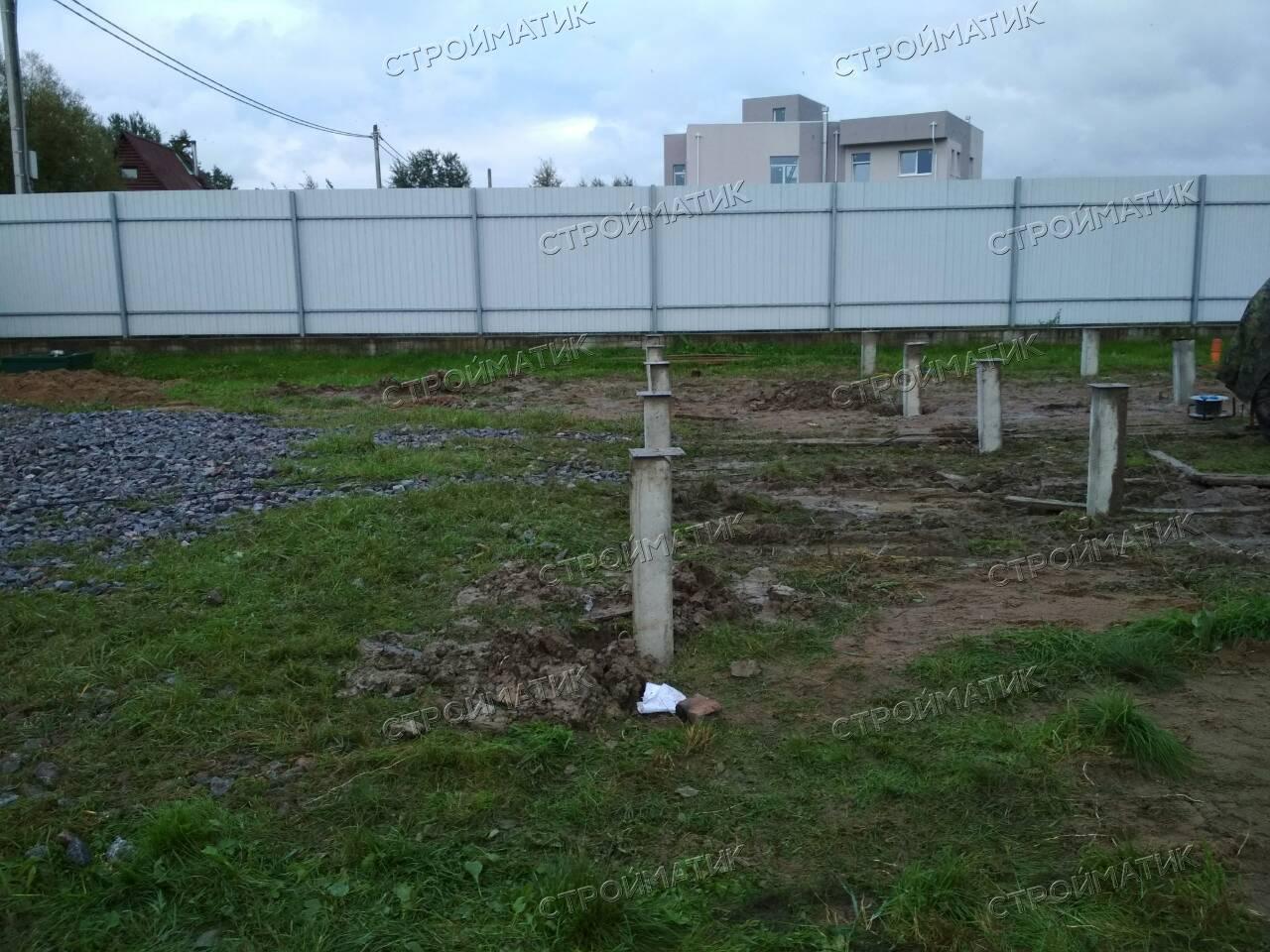 Фундамент на забивных ж/б сваях для дома в поселке Усть-Ижора Ленинградской области от компании Стройматик