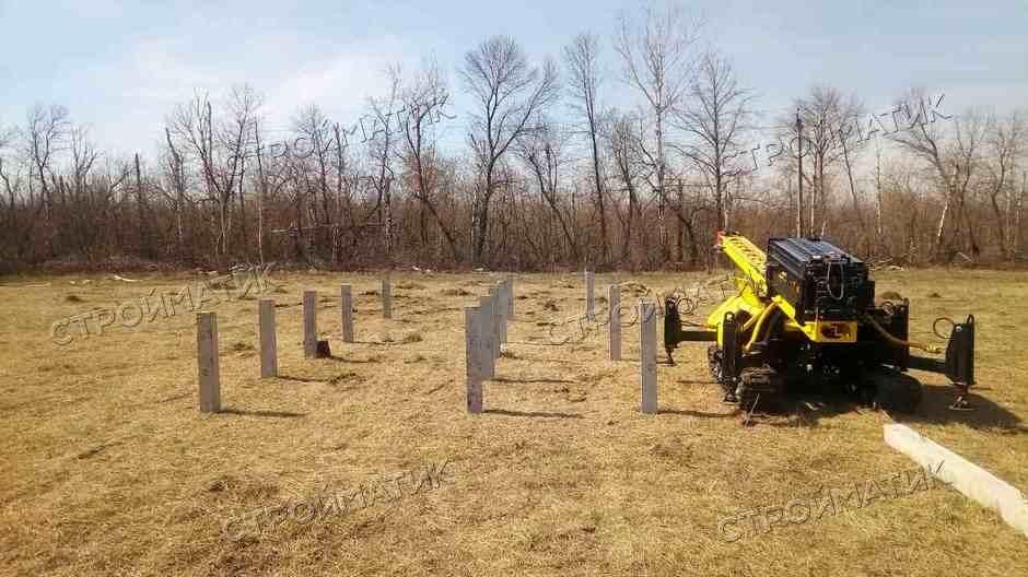 Фундамент для дома на забивных ж/б сваях в селе Бутырки Липецкой области от компании Стройматик