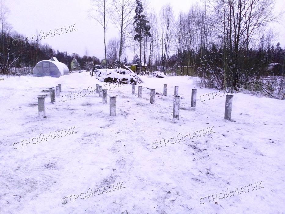 Фундамент на забивных ж/б сваях для дома в СНТ Полиграфист Ленинградской области от компании Стройматик