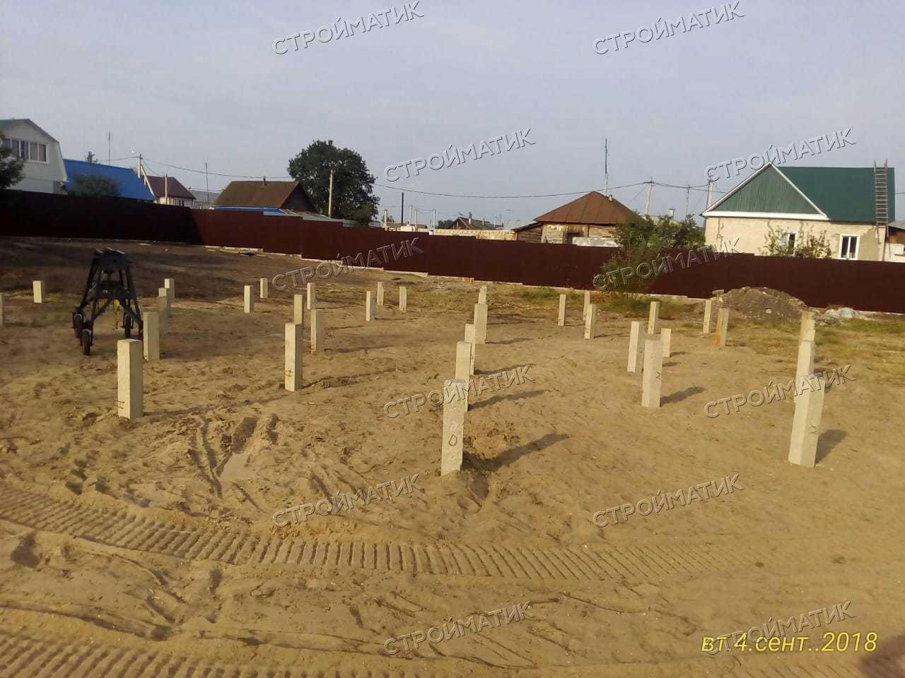 Фундамент на забивных ж/б сваях для беседки и хозяйственной постройки в селе Доброе Липецкой области от компании Стройматик
