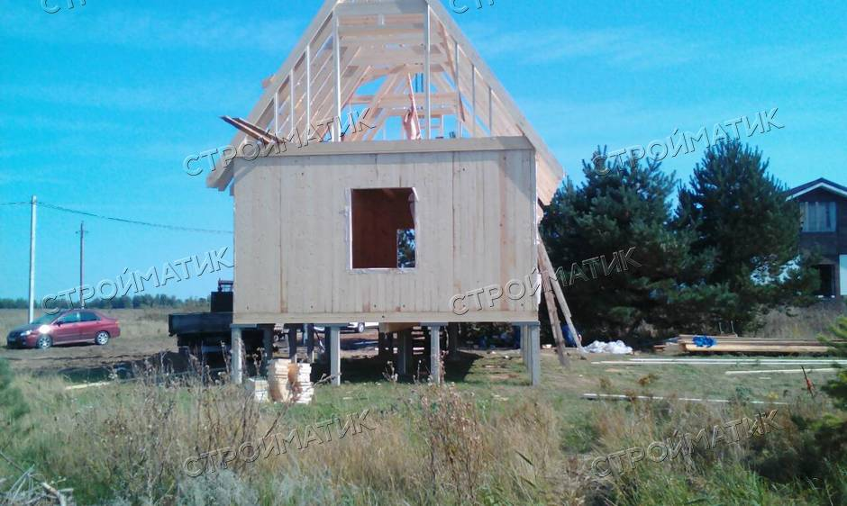 Фундамент на забивных ж/б сваях для каркасно-щитового дома от компании Стройматик