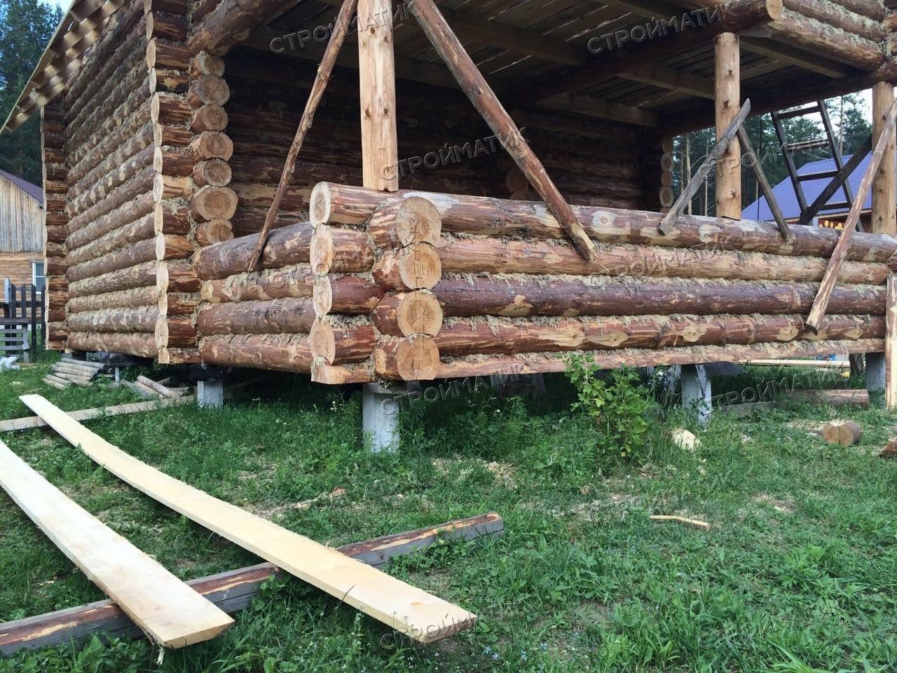 Фундамент на забивных ж/б сваях для бани из бревна в Череповецком районе от компании Стройматик