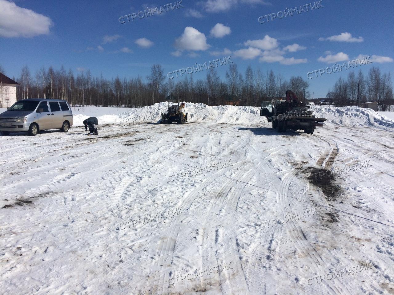 Фундамент на забивных ж/б сваях для дома из бруса в селе Сущево Костромской области от компании Стройматик
