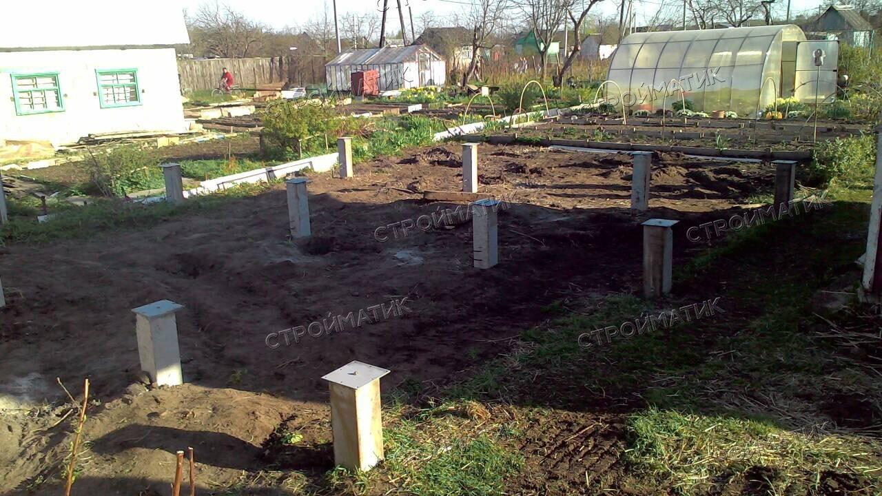 Фундамент на забивных ж/б сваях для дома из бруса в городе Волгореченск Костромской области от компании Стройматик