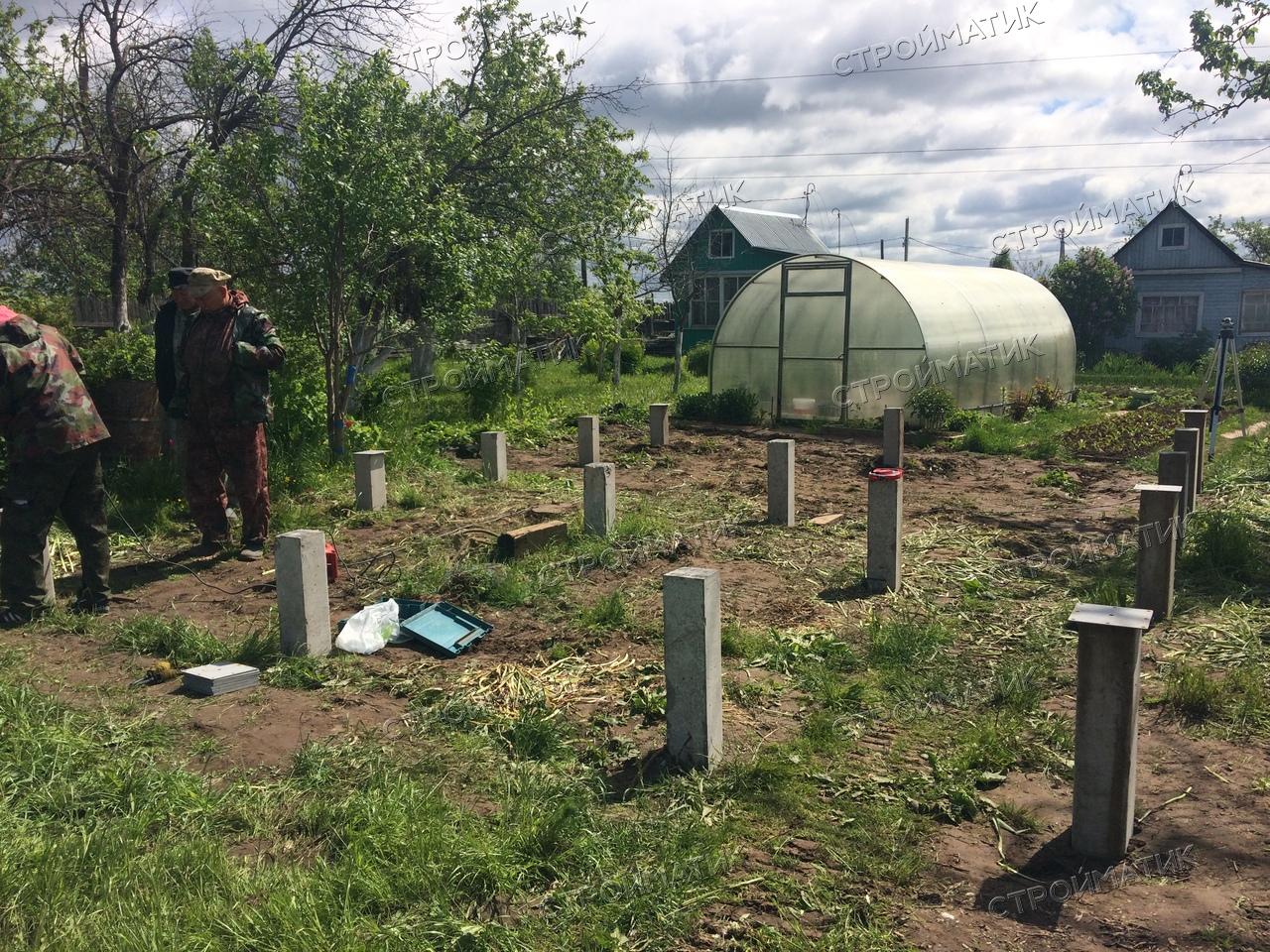 Фундамент на забивных ж/б сваях для дома из бруса в Костроме от компании Стройматик