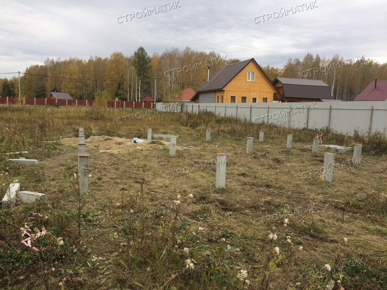 Фундамент на забивных ж/б сваях для каркасного дома в КП Александрия, Екатеринбург от компании Стройматик