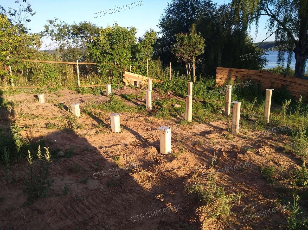 Фундамент на забивных ж/б сваях для дома из бруса в поселке Сунгурово Костромской области от компании Стройматик