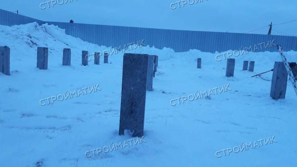 Фундамент на забивных ж/б сваях для дома из бруса в городе Ревда, Свердловская область от компании Стройматик