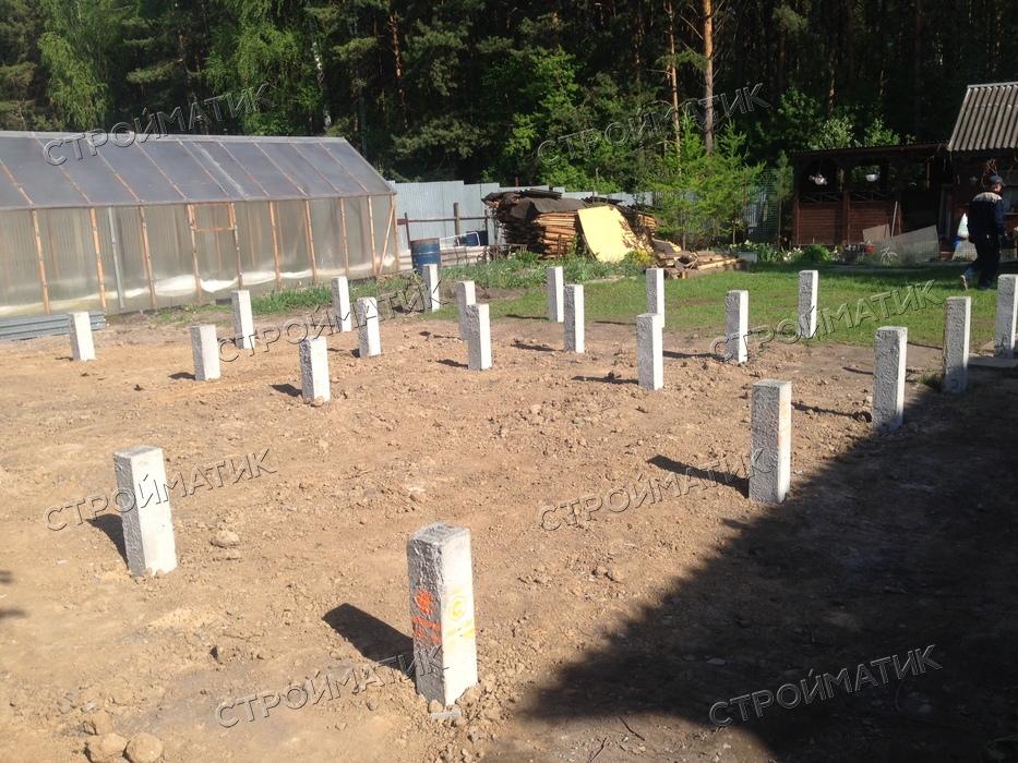 Фундамент на забивных ж/б сваях для дома из бревна поселок Плотниково, Новосибирский район, садоводческое товарищество Лесоустроитель от компании Стройматик