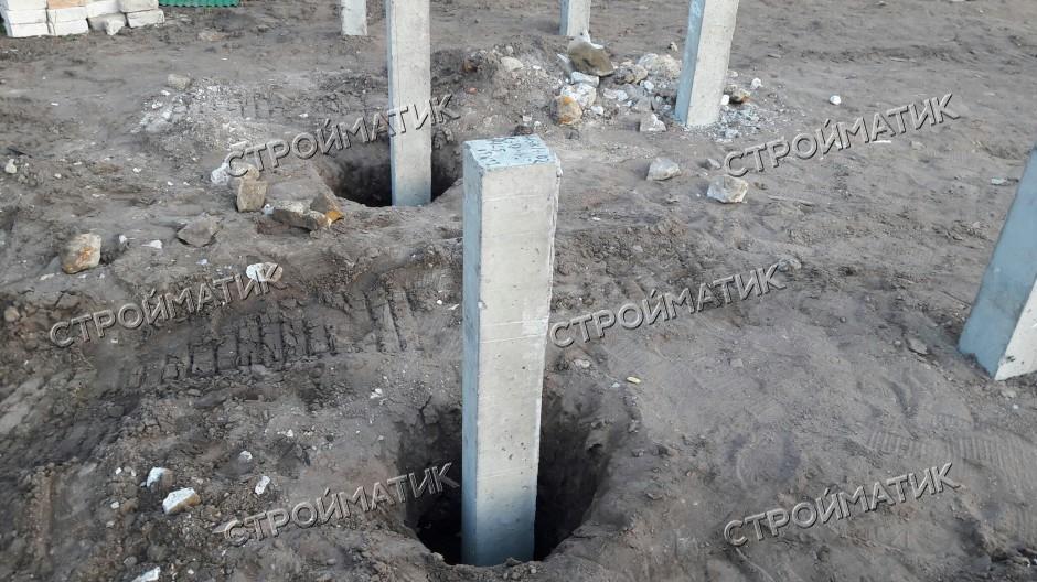 Фундамент на забивных ж/б сваях для дома из бревна в городе Семилуки Воронежской области от компании Стройматик