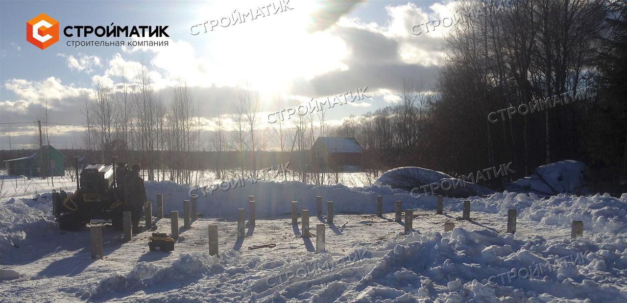 Фундамент на забивных ж/б сваях для дома из профилированного бруса в Тверской области от компании Стройматик