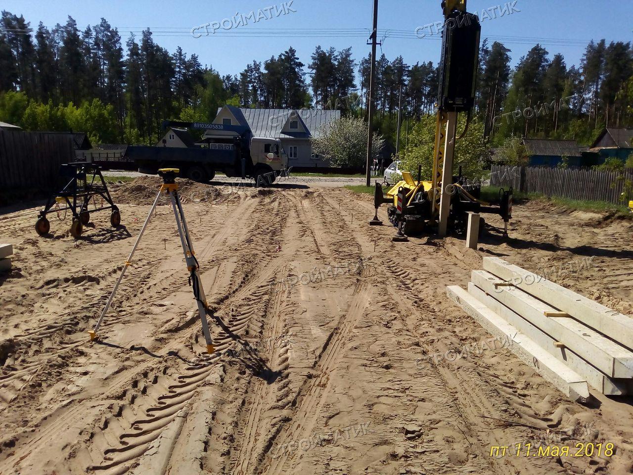 Фундамент на забивных ж/б сваях для сруба из бревна в поселке Лесохимучасток, Мичуринск от компании Стройматик