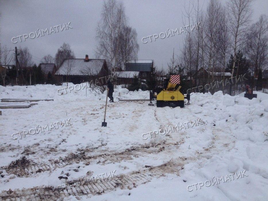 Фундамент для дома из бруса на забивных ж/б сваях в деревне Борцино Тверской области от компании Стройматик