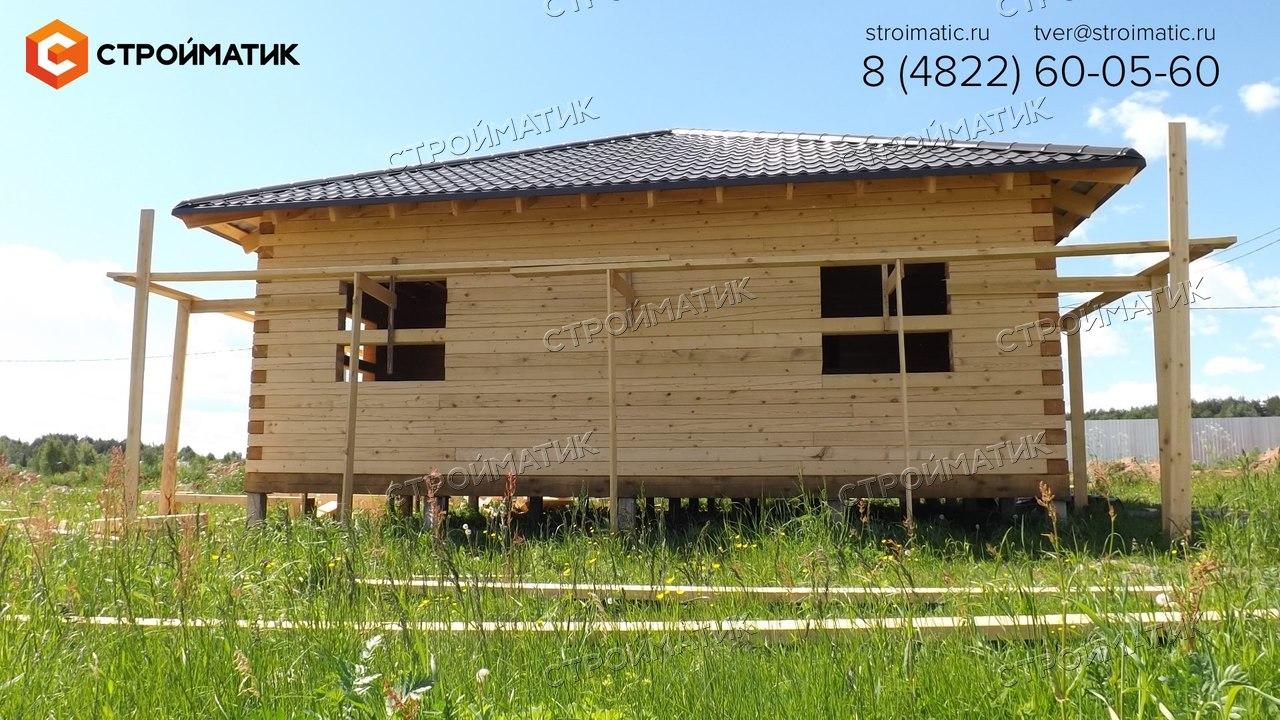 фундамент на забивных ж/б сваях для дома из профилированного бруса в коттеджном поселке Тверской области от компании Стройматик