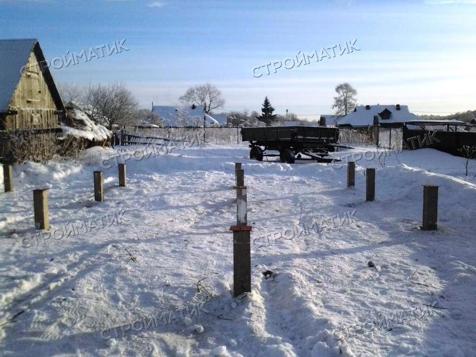 Фундамент на забивных ж/б сваях для бани из бруса в селе Новоселье Ярославской области от компании Стройматик